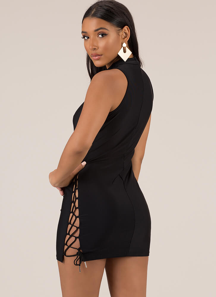 Always On Your Side Lace-Up Minidress BLACK