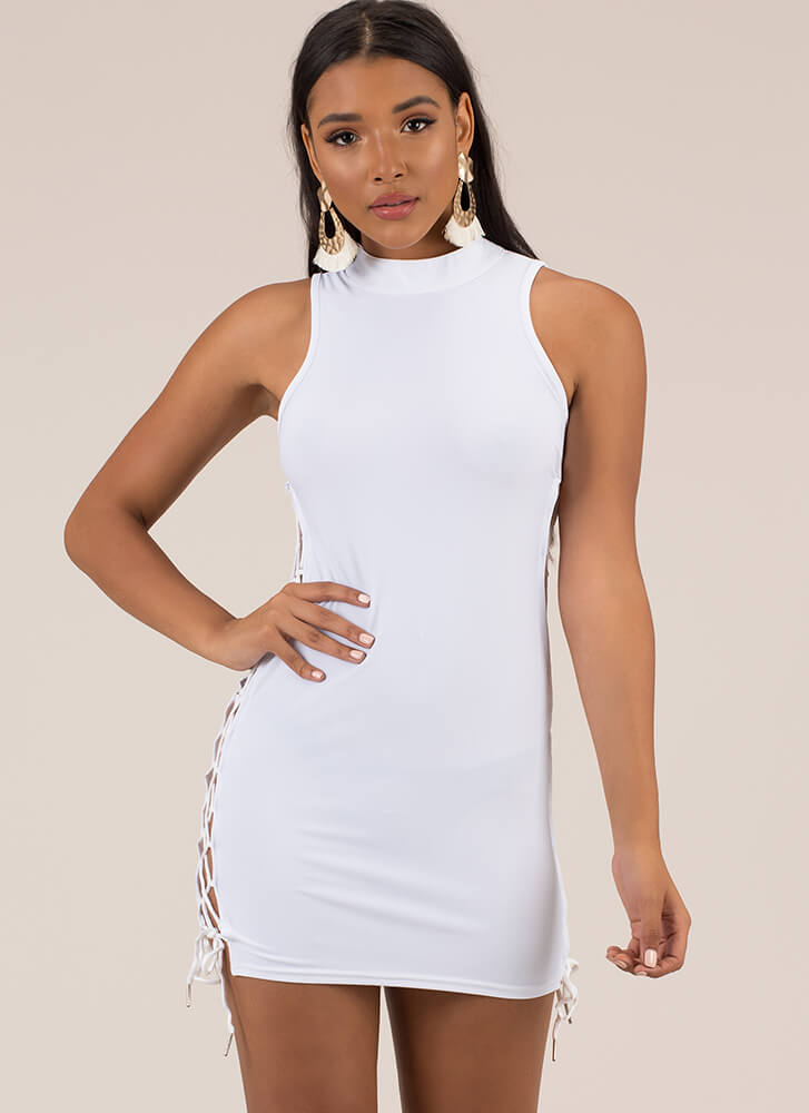 Always On Your Side Lace-Up Minidress WHITE
