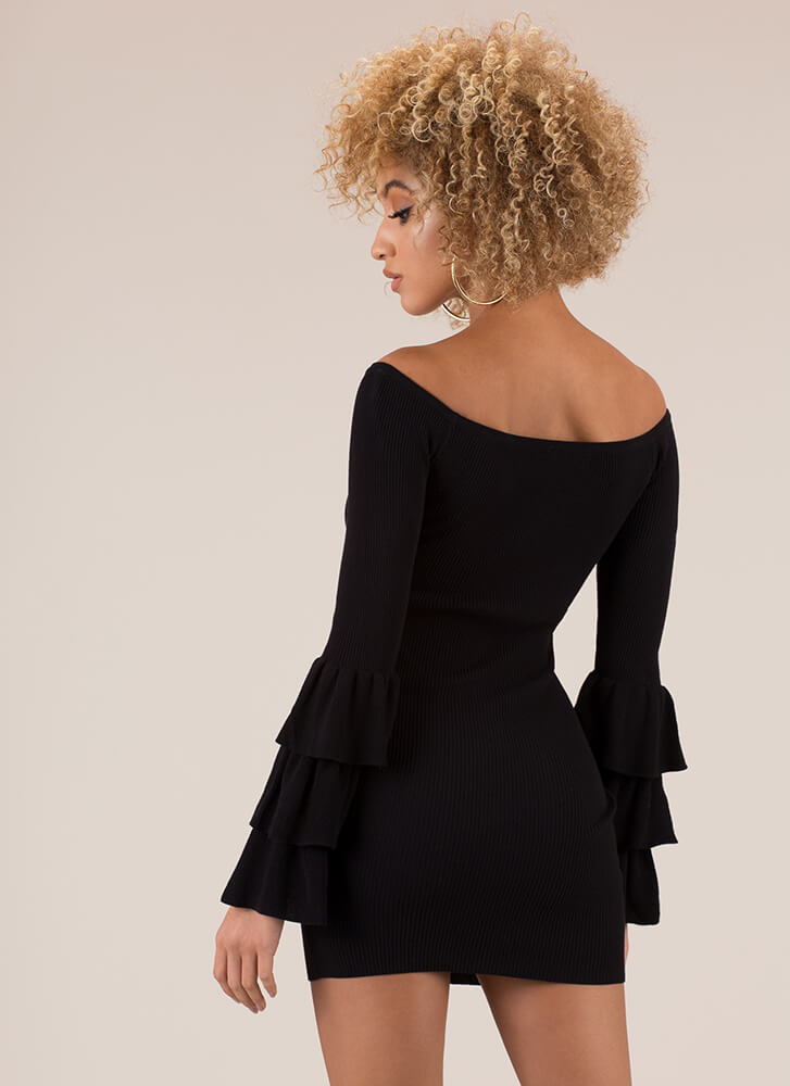Truth Or Flare Bell-Sleeve Minidress BLACK