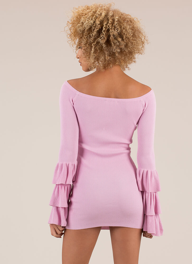 Truth Or Flare Bell-Sleeve Minidress PINK