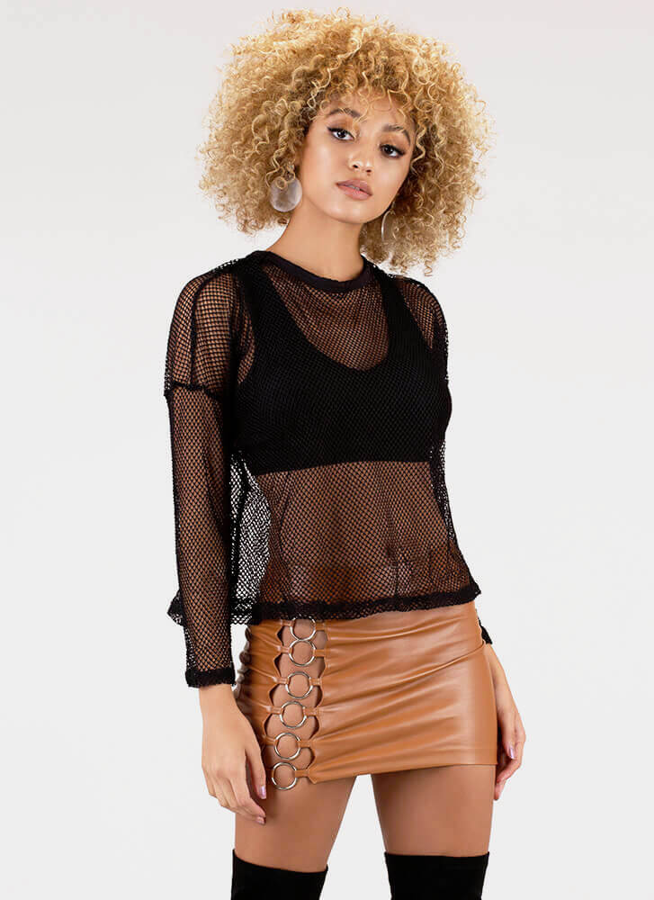 Fishnet Out Of Water Layered Top BLACK