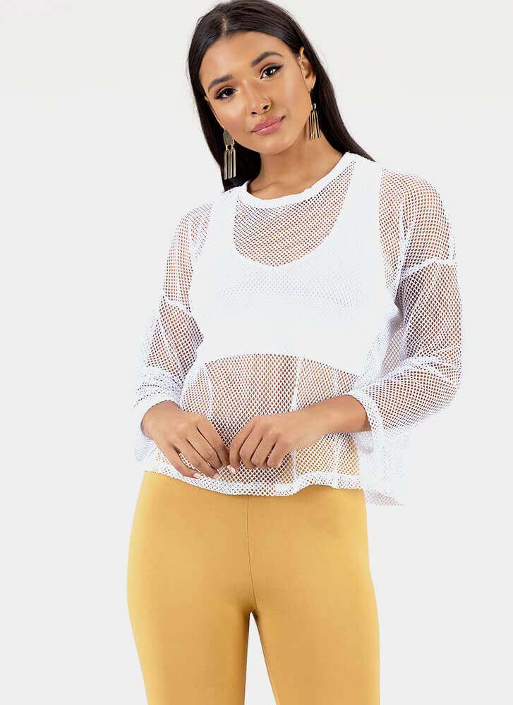 Fishnet Out Of Water Layered Top WHITE