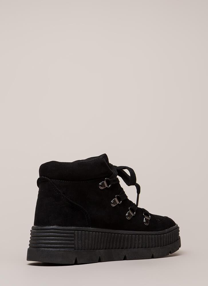 High Fly Act Creeper Platform Sneakers BLACK