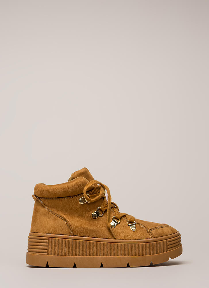 High Fly Act Creeper Platform Sneakers CAMEL