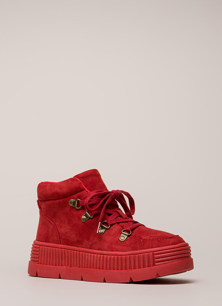High Fly Act Creeper Platform Sneakers RED