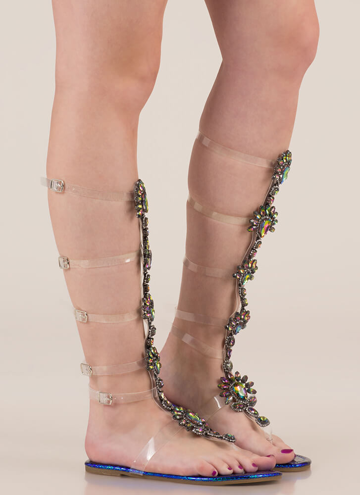 My Jewels Iridescent Gladiator Sandals GREEN