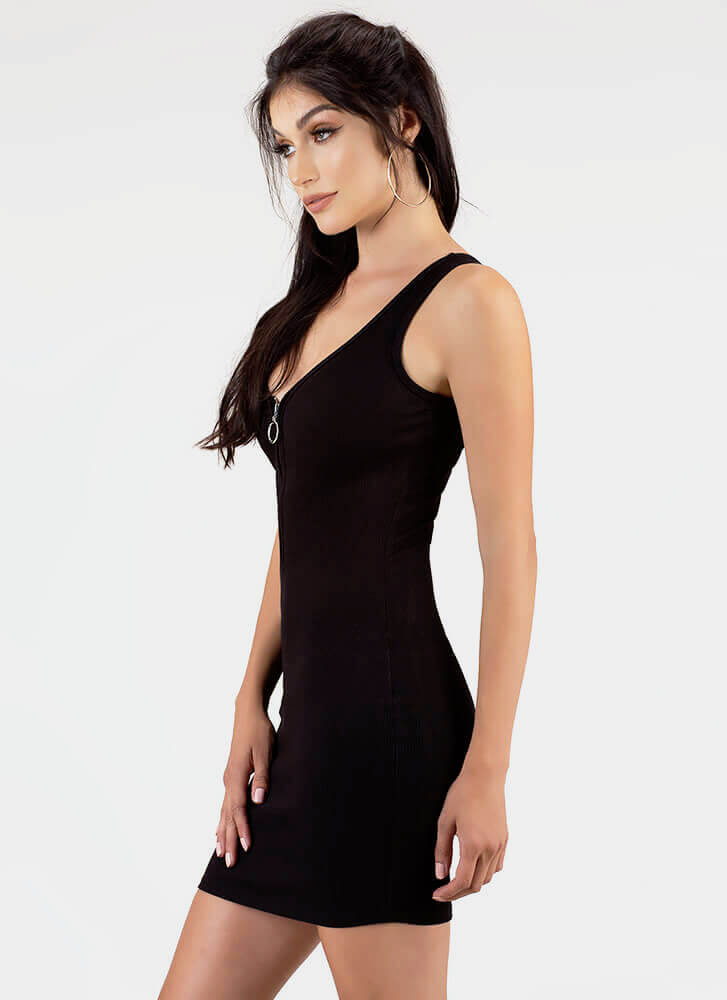 Get The Ring Ribbed Zip-Front Minidress BLACK