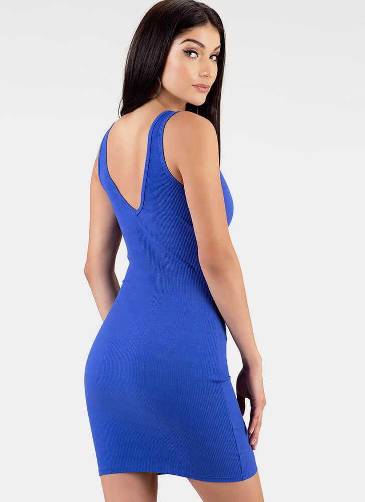 Get The Ring Ribbed Zip-Front Minidress ROYAL