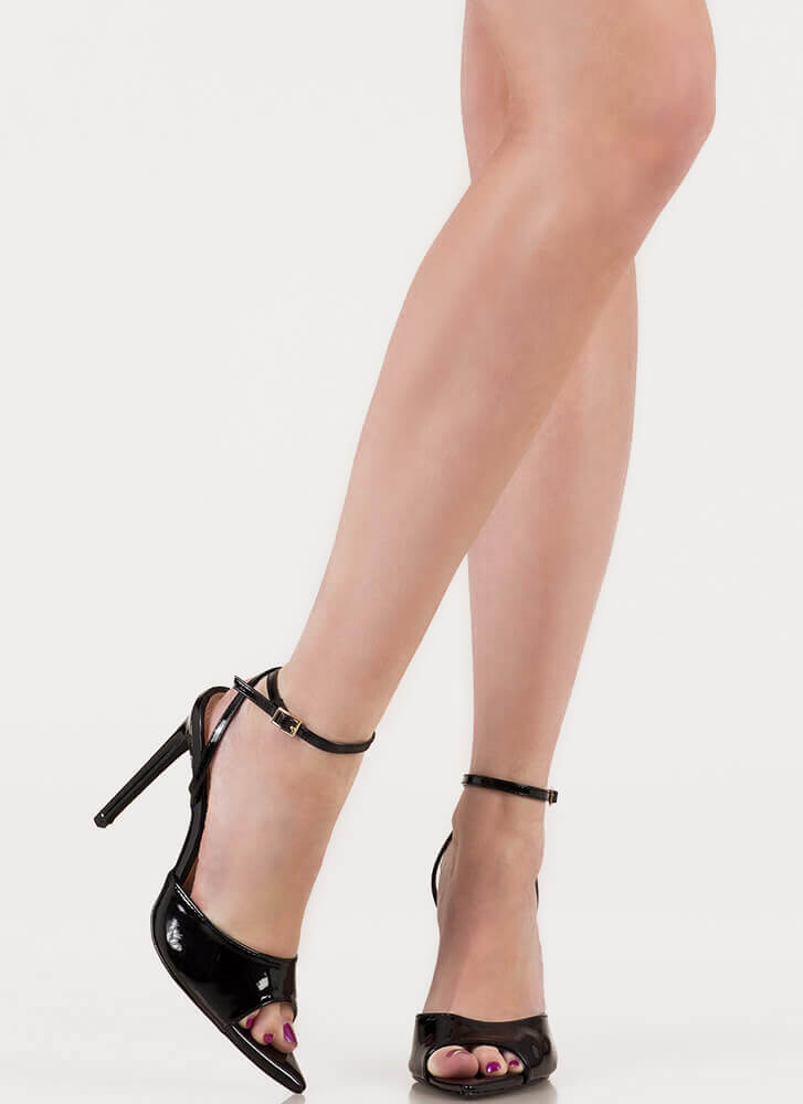 Great Point Strappy Peep-Toe Heels BLACK
