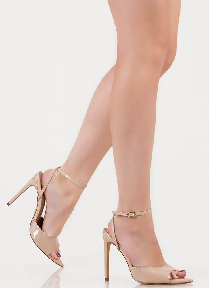 Great Point Strappy Peep-Toe Heels NUDE