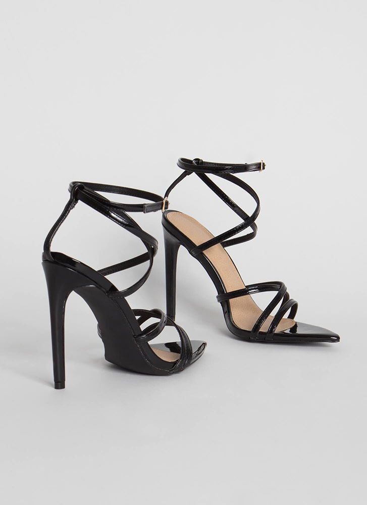 All Straps Pointy Faux Patent Heels BLACK