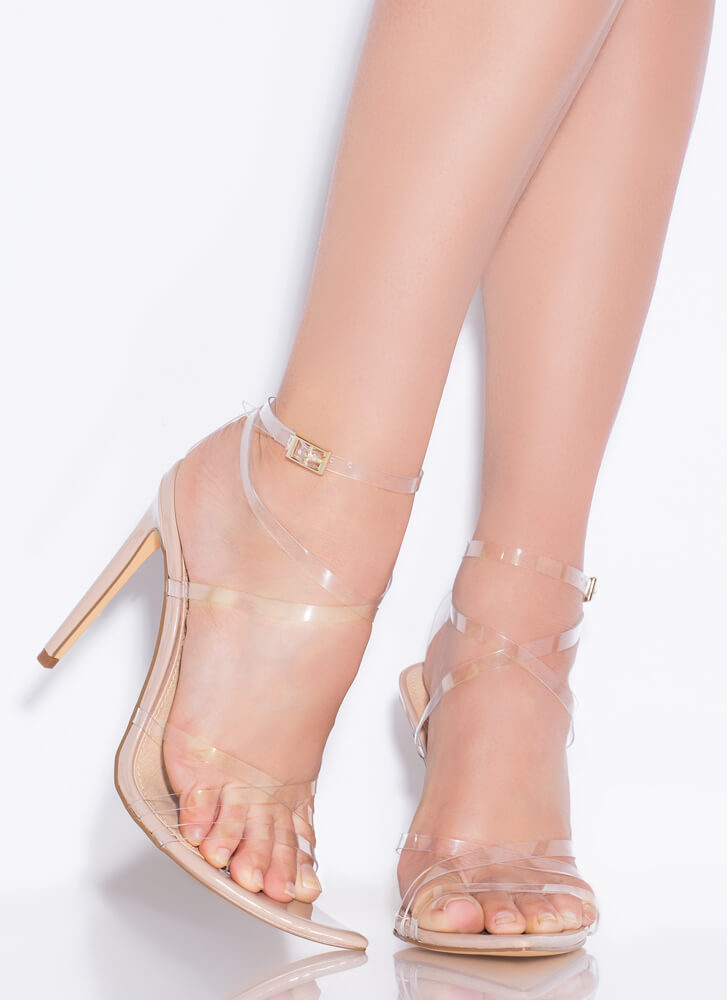 All Straps Pointy Faux Patent Heels CLEAR