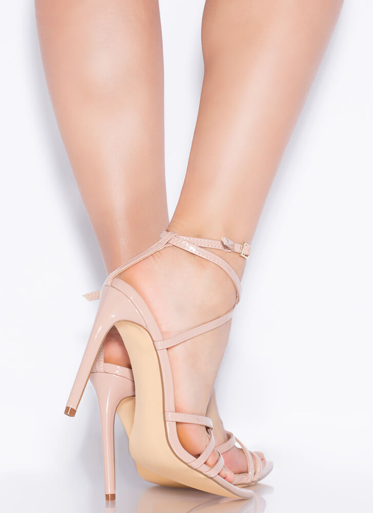 All Straps Pointy Faux Patent Heels NUDE