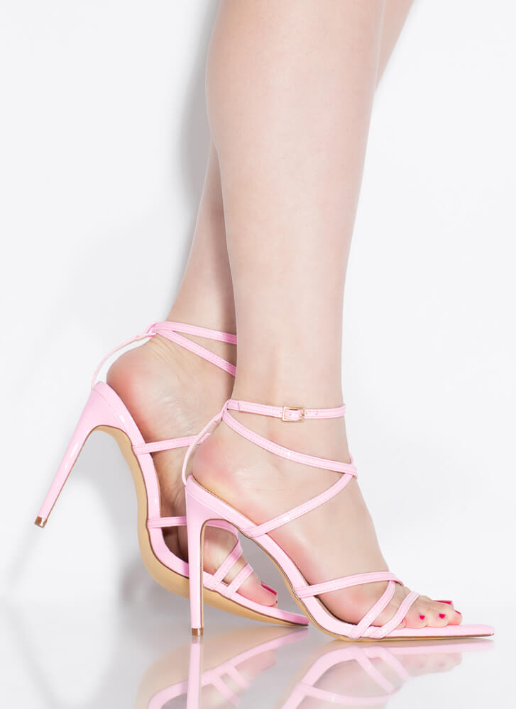 All Straps Pointy Faux Patent Heels PINK