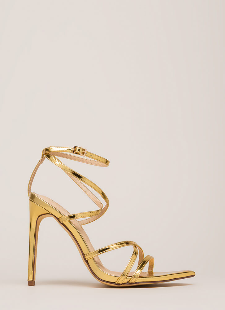 All Straps Pointy Metallic Heels GOLD (You Saved $22)