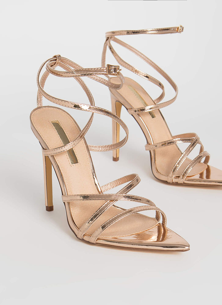All Straps Pointy Metallic Heels ROSEGOLD