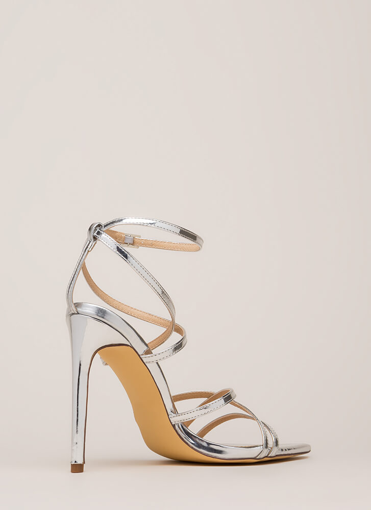 All Straps Pointy Metallic Heels SILVER
