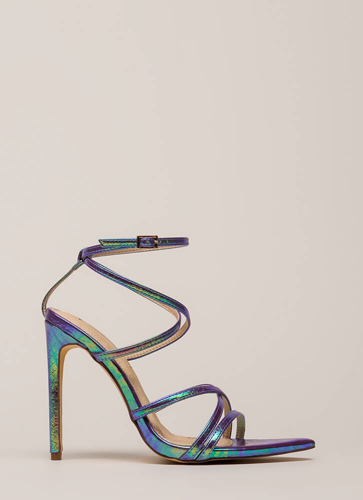 All Straps Pointy Holographic Heels HOLOGRAM
