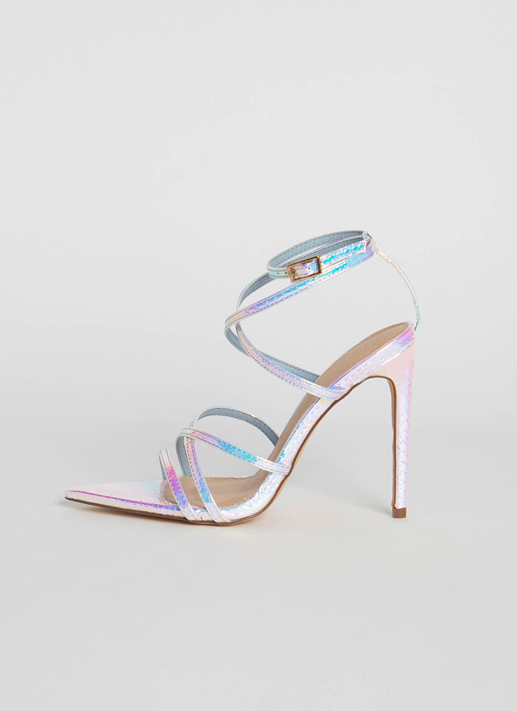 All Straps Pointy Holographic Heels PINK