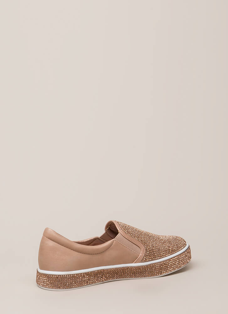 Bling It Rhinestone Slip-On Sneakers PINK (You Saved $22)