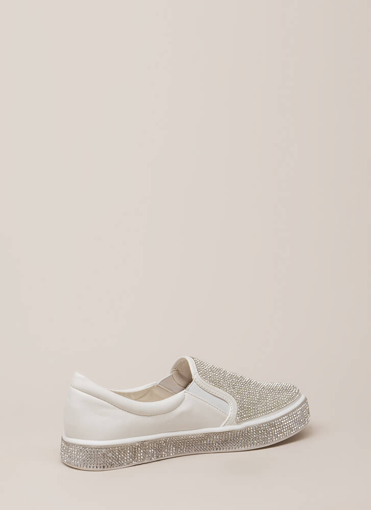 Bling It Rhinestone Slip-On Sneakers WHITE (You Saved $22)