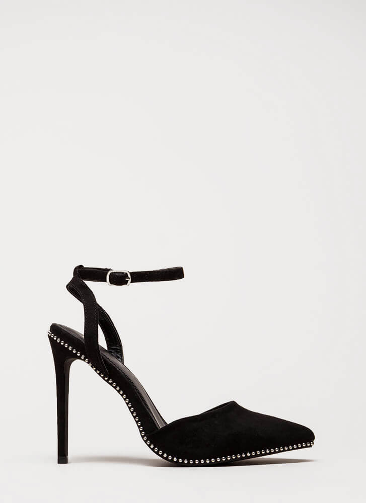 Stud Time Pointy Ankle Strap Heels BLACK