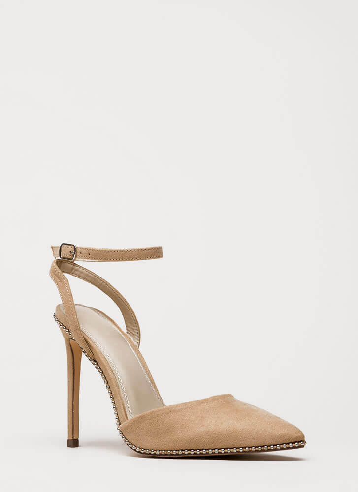 Stud Time Pointy Ankle Strap Heels NUDE (You Saved $22)