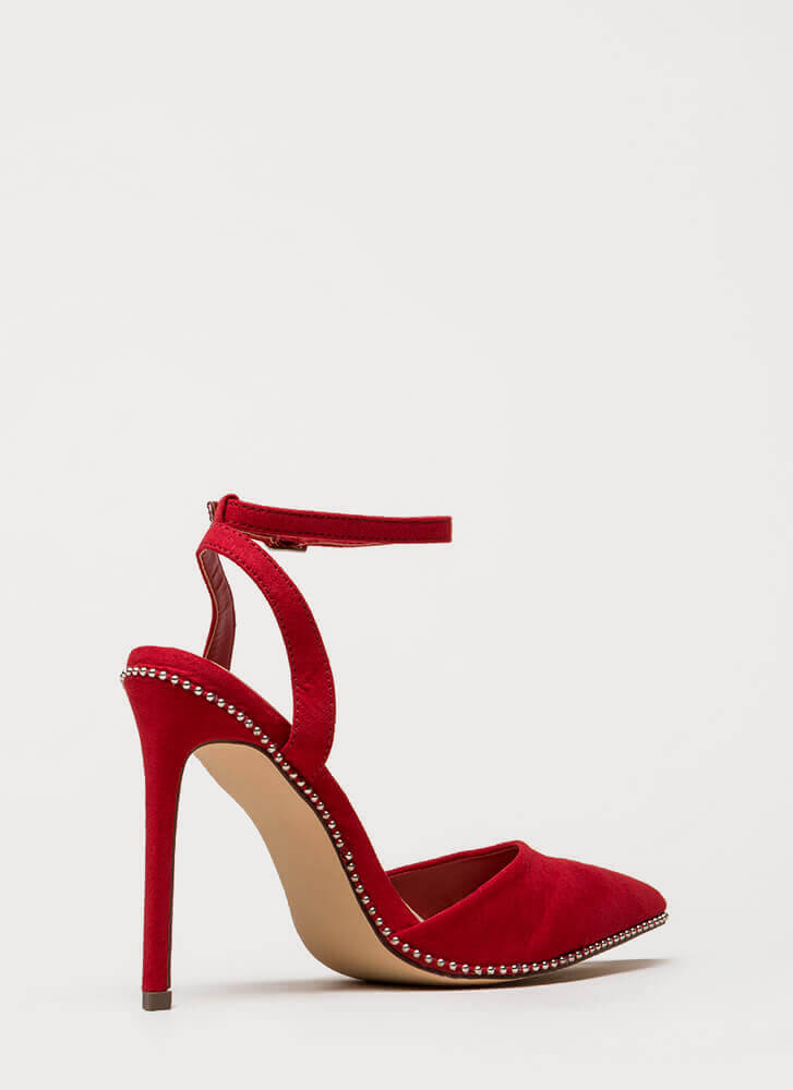 Stud Time Pointy Ankle Strap Heels RED (You Saved $22)