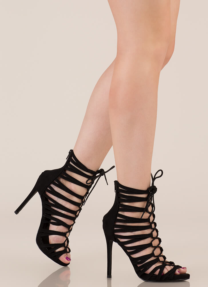 Strappy Feet Caged Lace-Up Heels BLACK