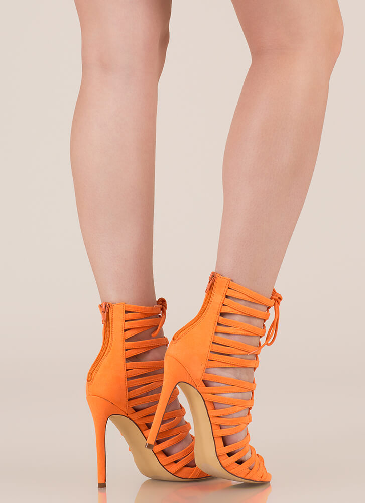 Strappy Feet Caged Lace-Up Heels ORANGE