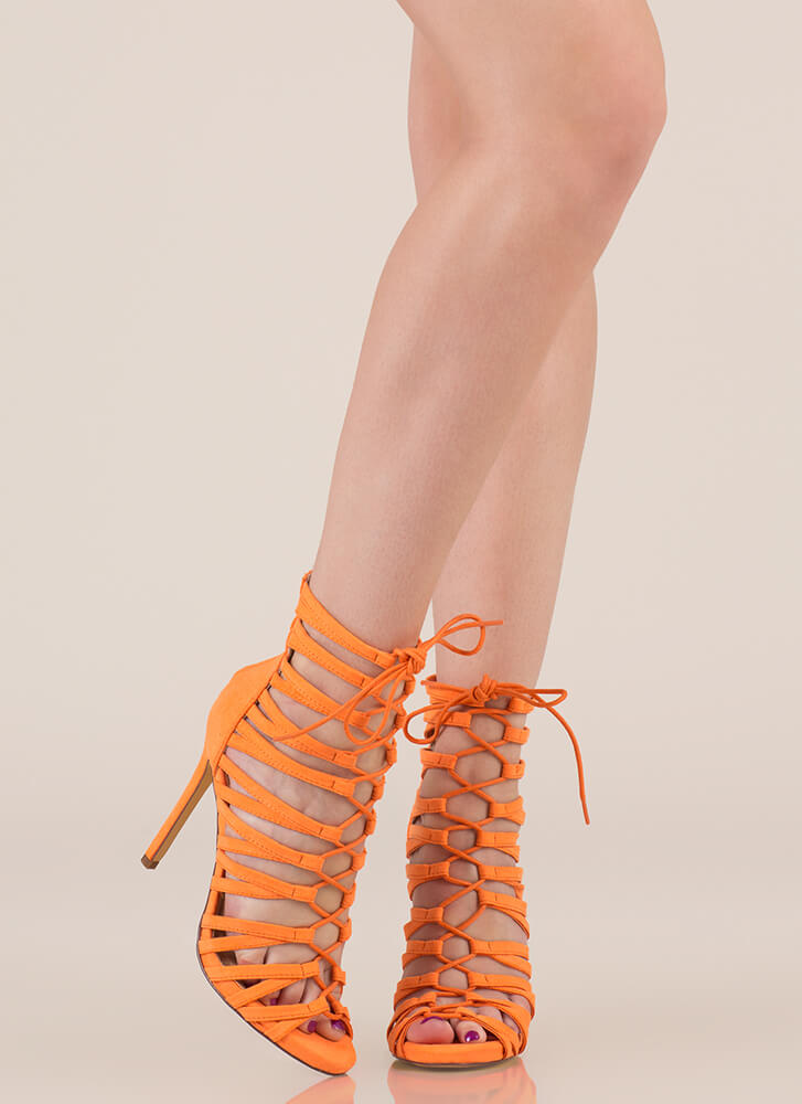 Strappy Feet Caged Lace-Up Heels ORANGE BLACK RED - GoJane.com