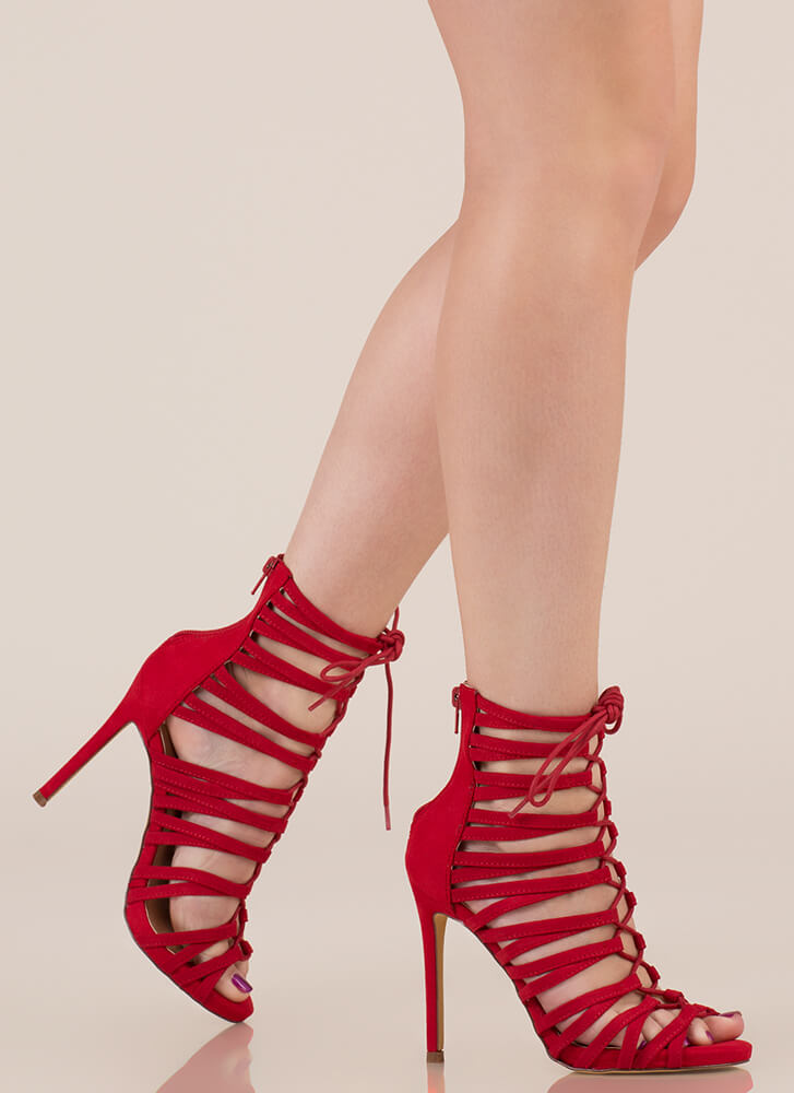 Strappy Feet Caged Lace-Up Heels RED