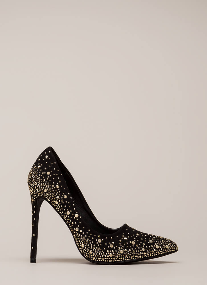 Head-To-Toe Sparkle Pointy Studded Pumps BLACK (You Saved $22)