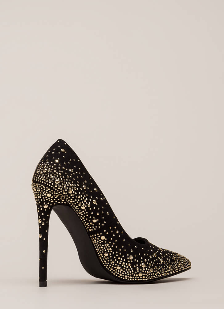 Head-To-Toe Sparkle Pointy Studded Pumps BLACK