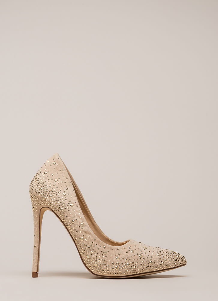 Head-To-Toe Sparkle Pointy Studded Pumps NUDE (You Saved $22)