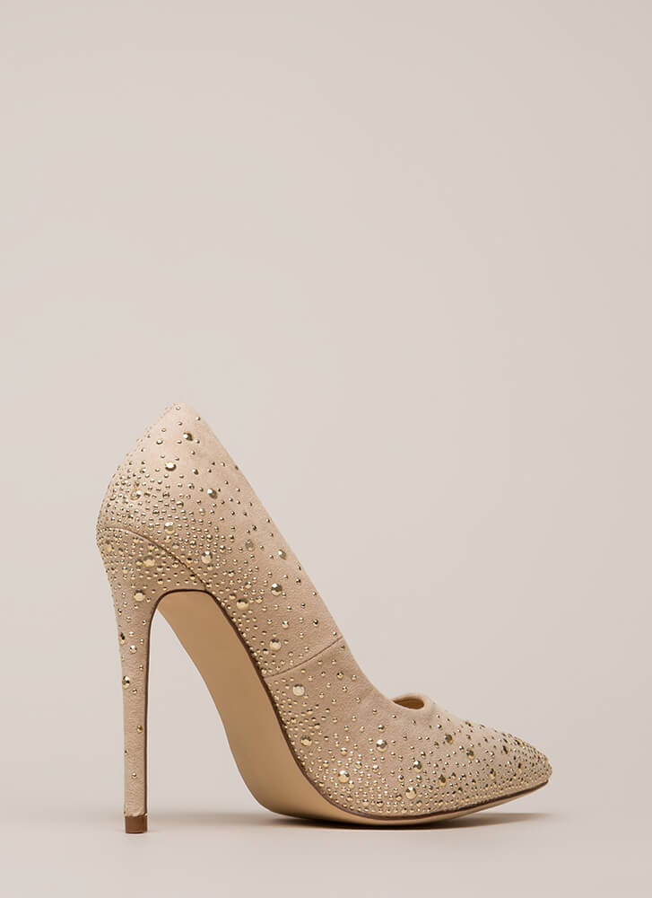 Head-To-Toe Sparkle Pointy Studded Pumps NUDE