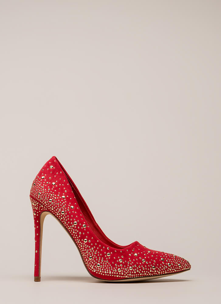 Head-To-Toe Sparkle Pointy Studded Pumps RED