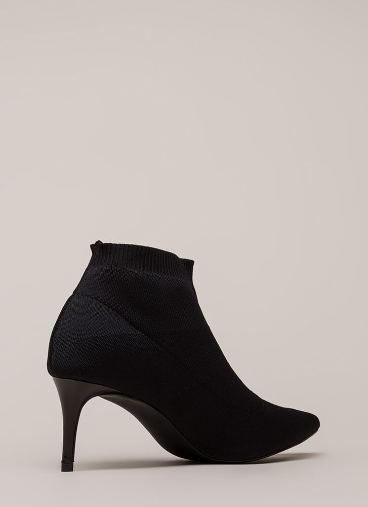 The Short Answer Knit Stiletto Booties BLACK