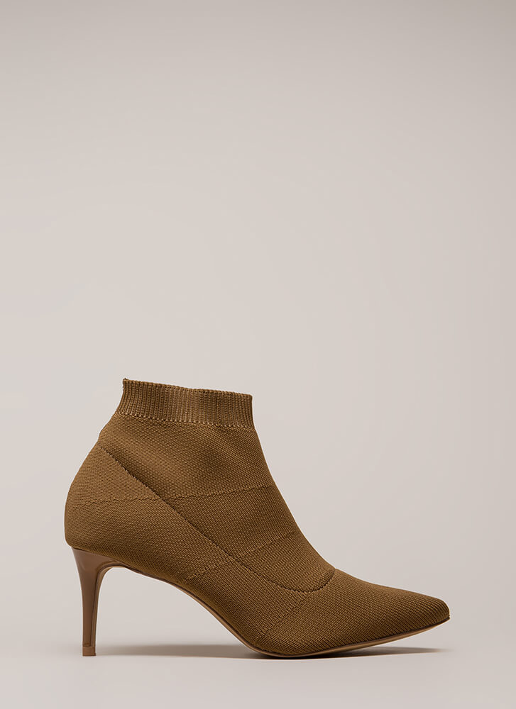 The Short Answer Knit Stiletto Booties TAUPE
