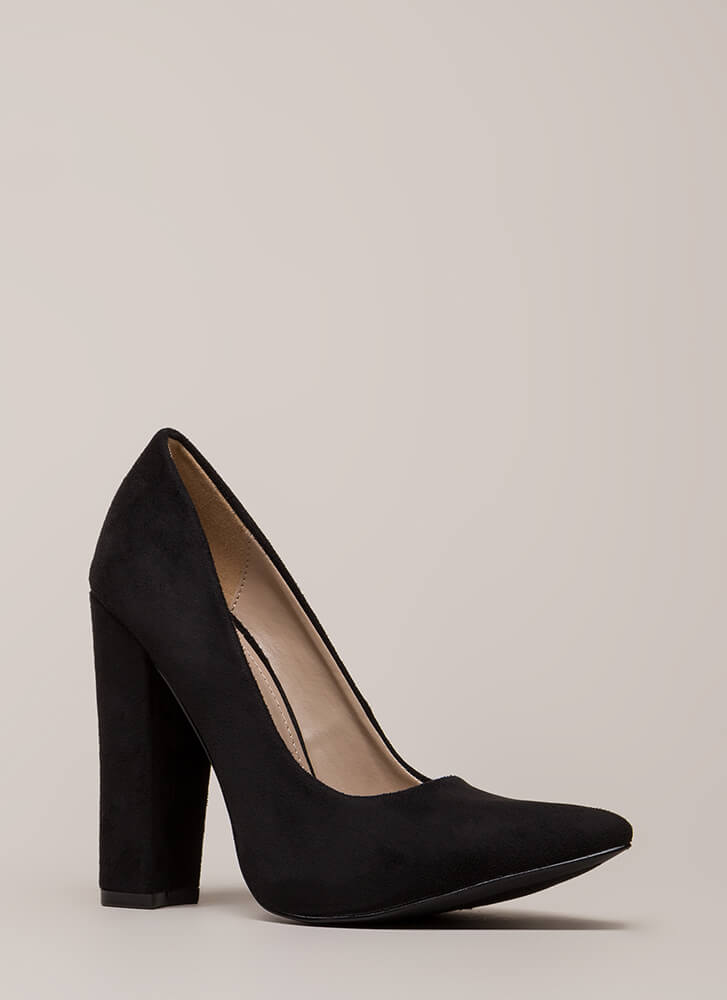 Something New Pointy Chunky Pumps BLACK (You Saved $20)