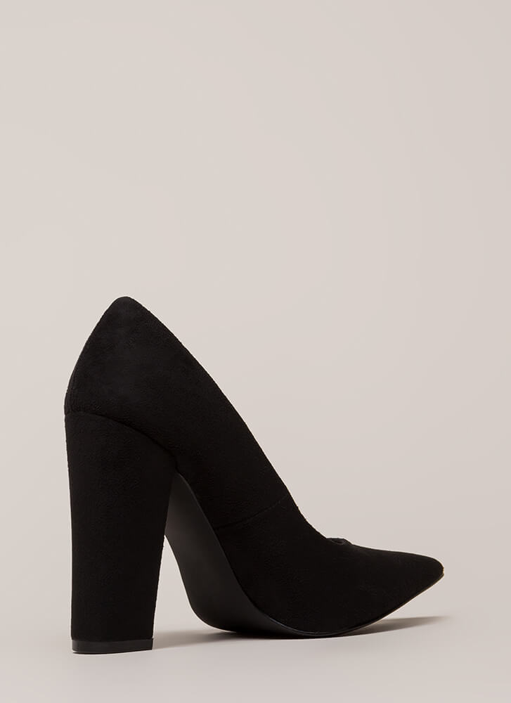 Something New Pointy Chunky Pumps BLACK