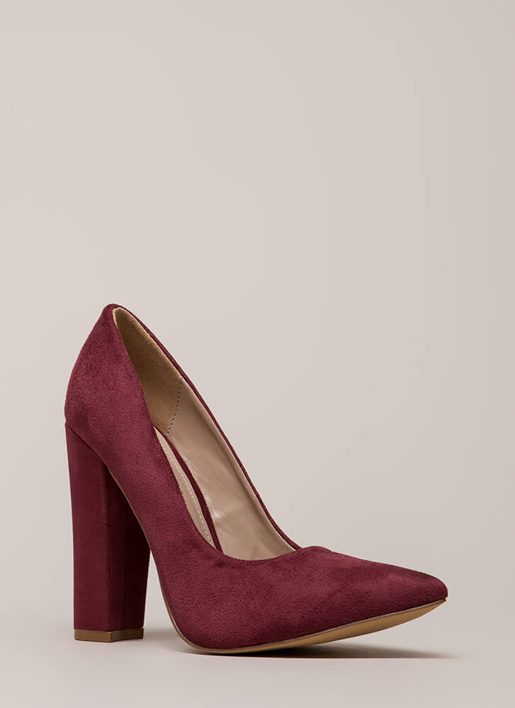 Something New Pointy Chunky Pumps WINE (Final Sale)