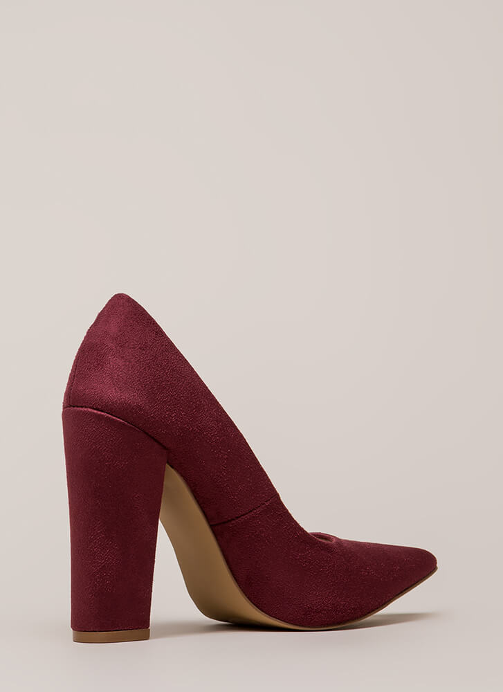 Something New Pointy Chunky Pumps WINE (You Saved $20)