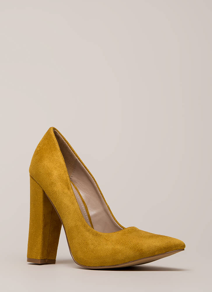 Something New Pointy Chunky Pumps YELLOW