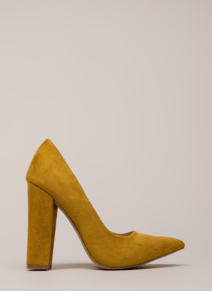 Something New Pointy Chunky Pumps YELLOW (You Saved $20)