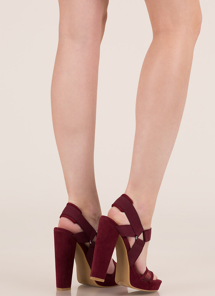 Harness My Talent Chunky Platforms BURGUNDY
