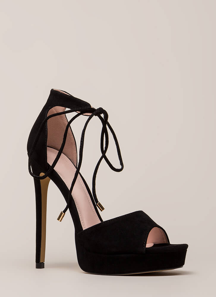 Tied You Over Peep-Toe Platforms BLACK