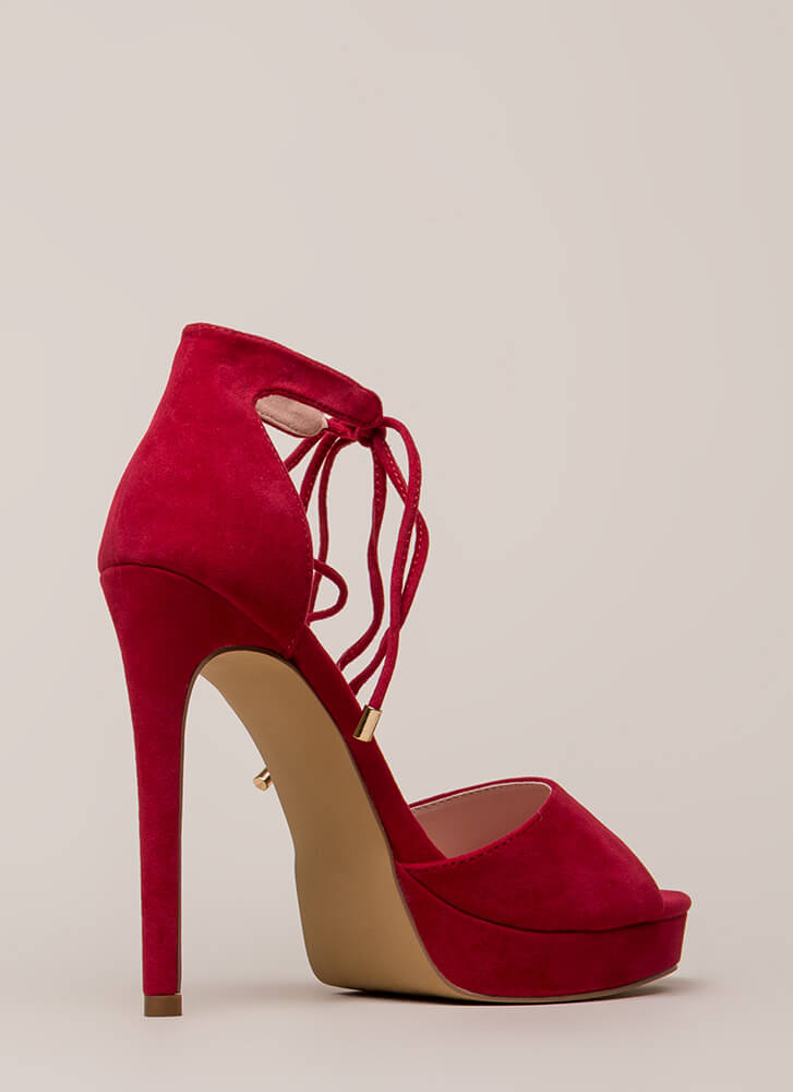 Tied You Over Peep-Toe Platforms RED
