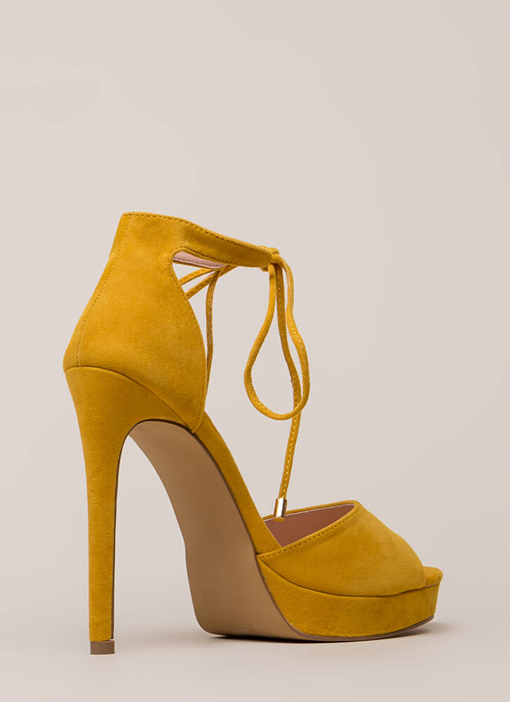 Tied You Over Peep-Toe Platforms YELLOW