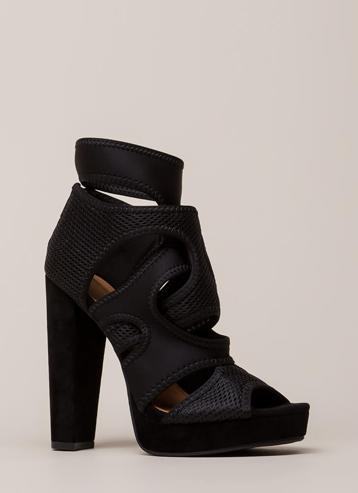 The Layers Club Cut-Out Chunky Heels BLACK